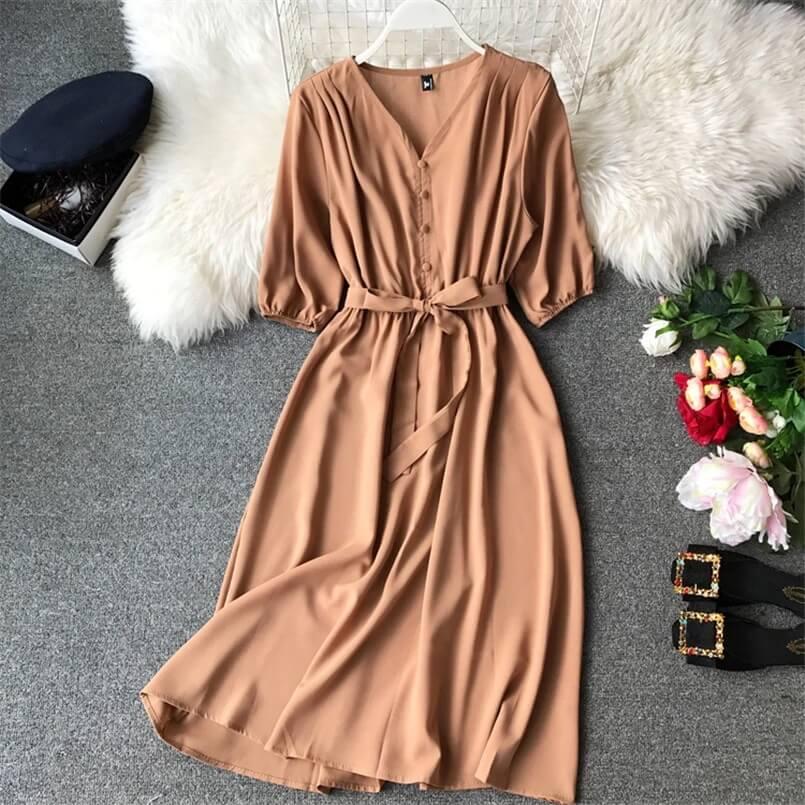 Базовое платье миди на осень с Алиэкспресс