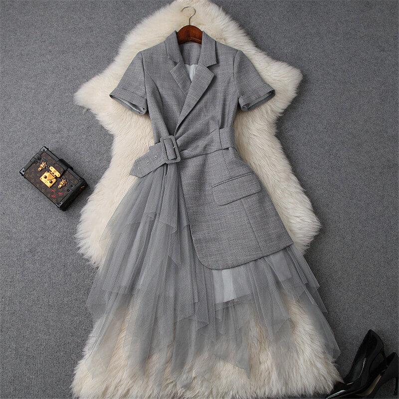 Дизайнерское платье с отложным воротником на осень с Алиэкспресс