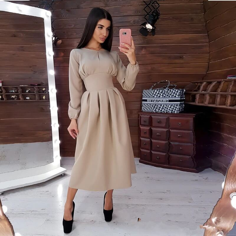 Элегантное однотонное платье с Алиэкспресс