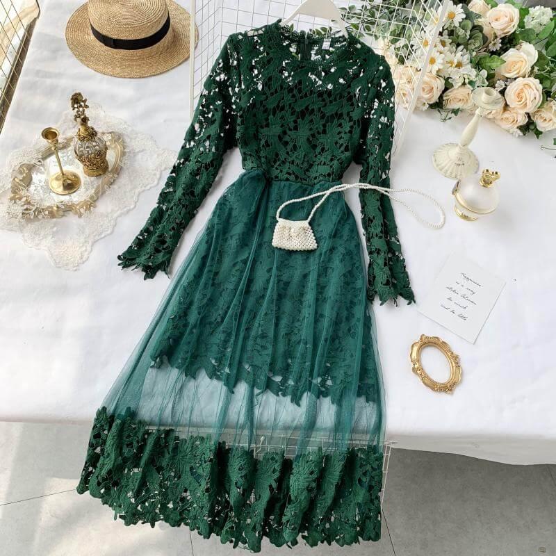Кружевное платье на осень с Алиэкспресс