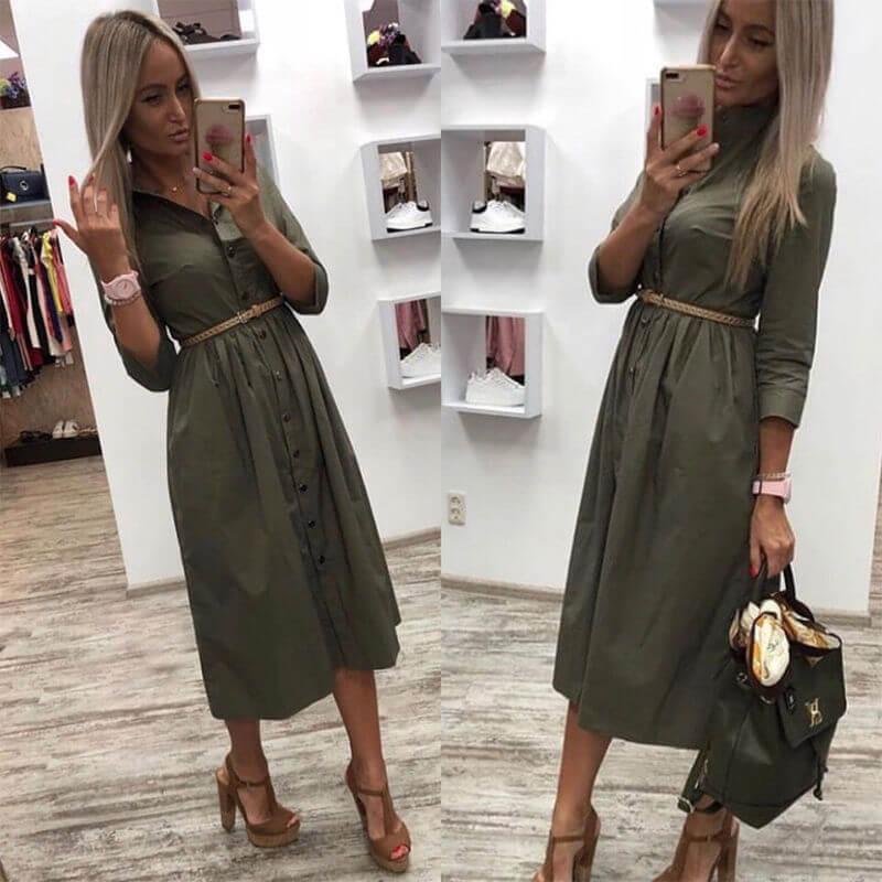 Платье с рукавом три четверти с Алиэкспресс