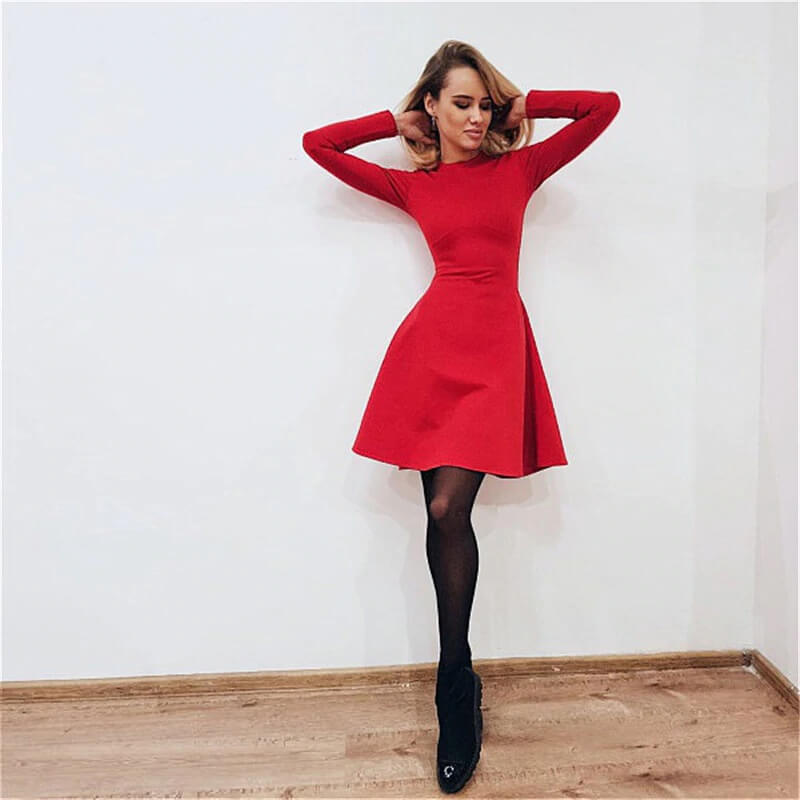 Платье-трапеция на осень с Алиэкспресс