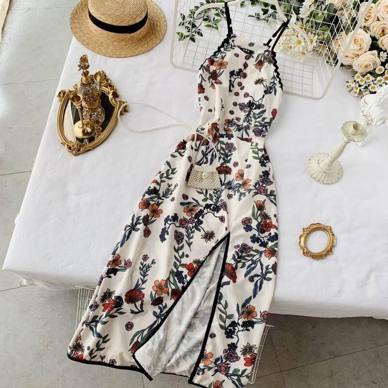Шикарное платье на лето с разрезом с Алиэкспресс