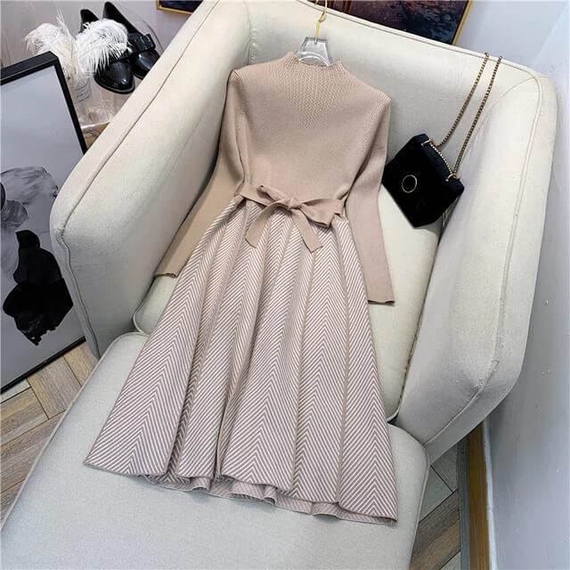 Шикарное вязаное платье на осень с Алиэкспресс