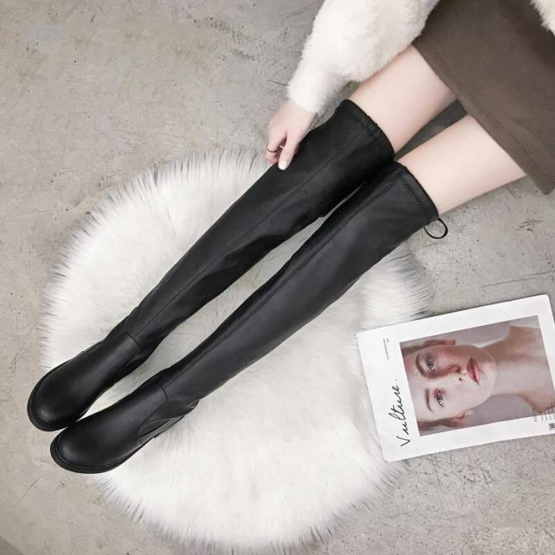 Облегающие кожаные сапоги с Алиэкспресс