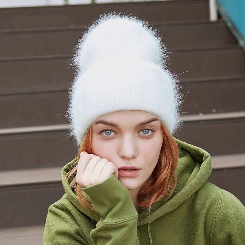 Женская отличная шапочка на зиму с Алиэкспресс