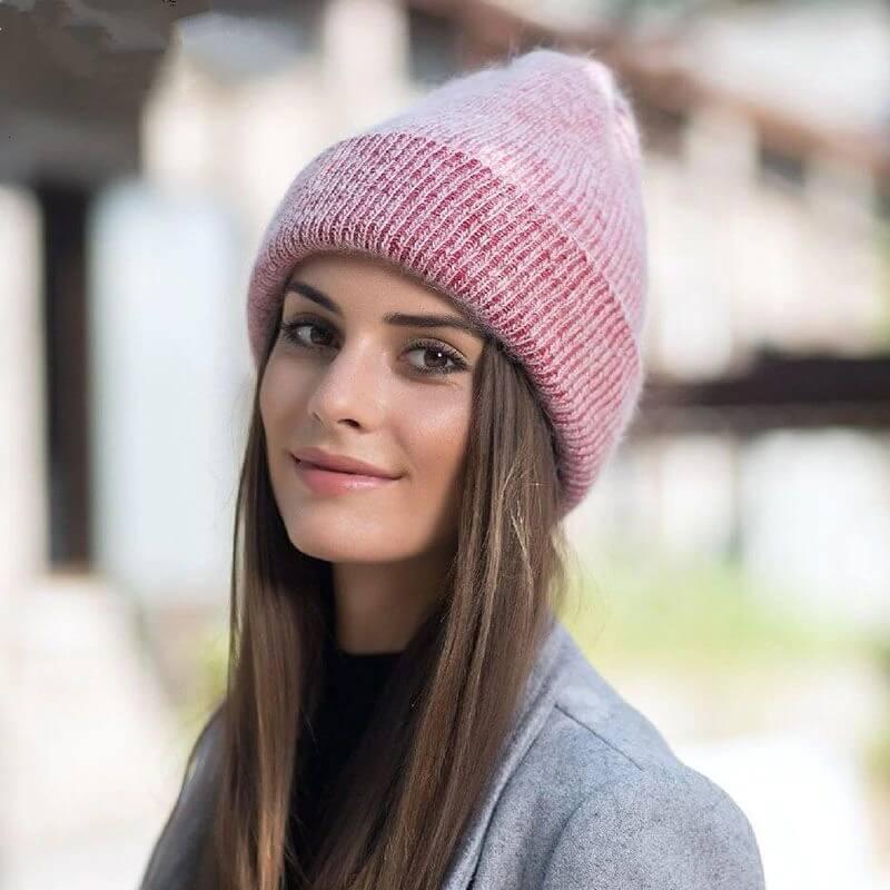 Женская тёплая шерстяная шапка с Алиэкспресс