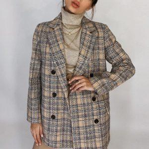 Женский элегантный клетчатый пиджак с Алиэкспресс