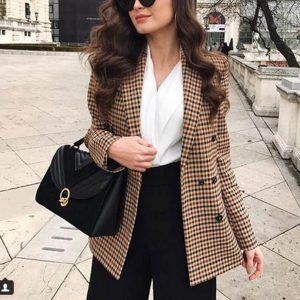 Женский стильный клетчатый пиджак с Алиэкспресс