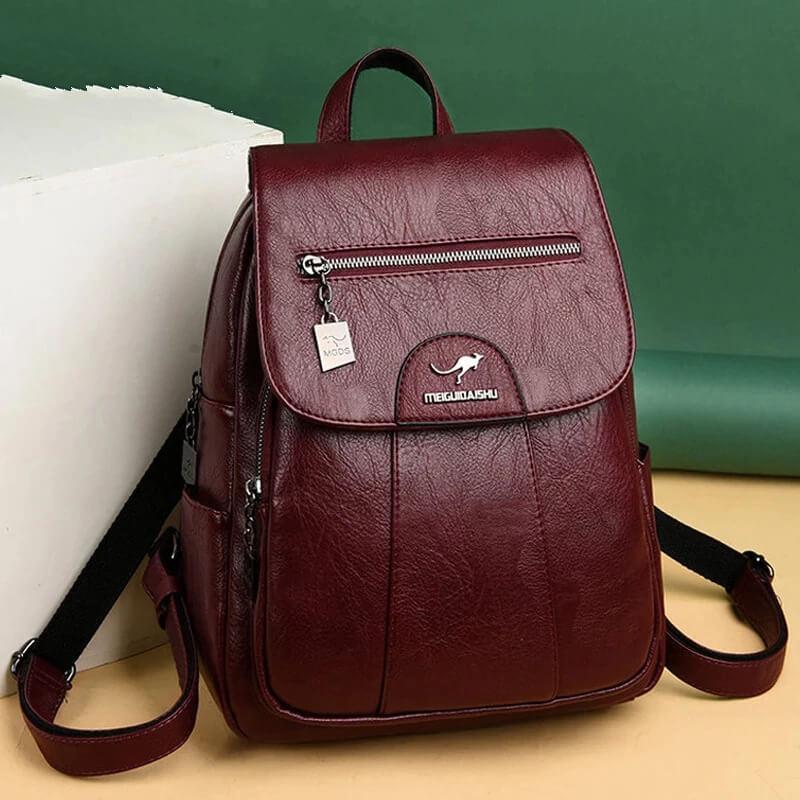 Красивый кожаный женский рюкзак с Алиэкспресс