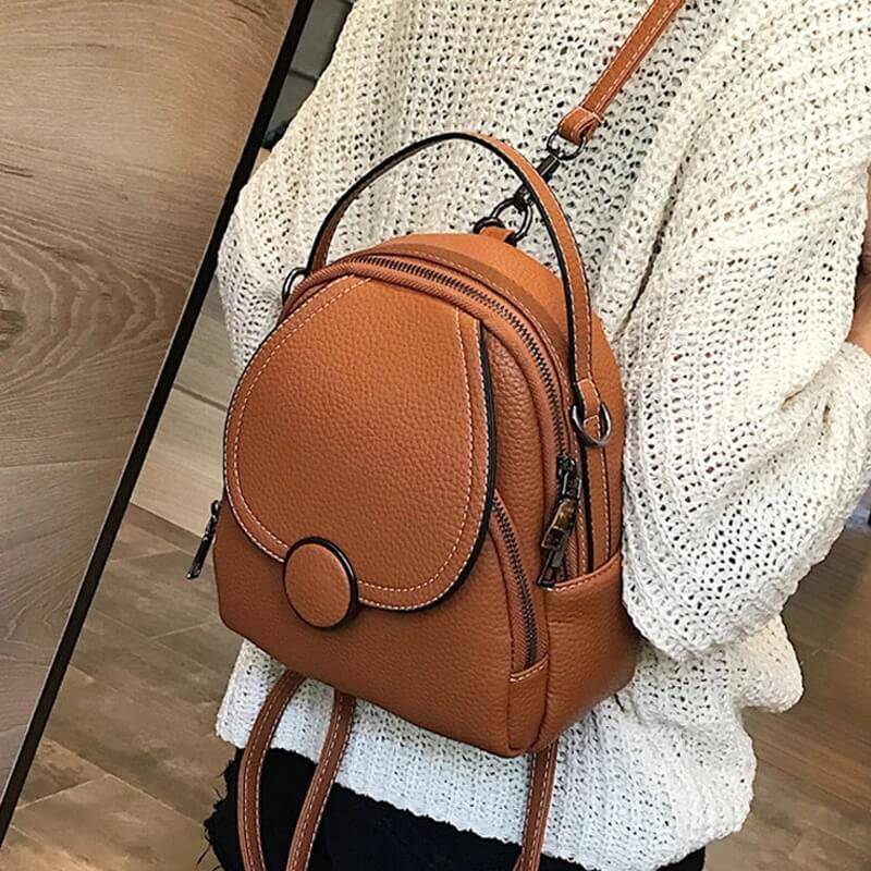 Модный женский кожаный рюкзак с Алиэкспресс