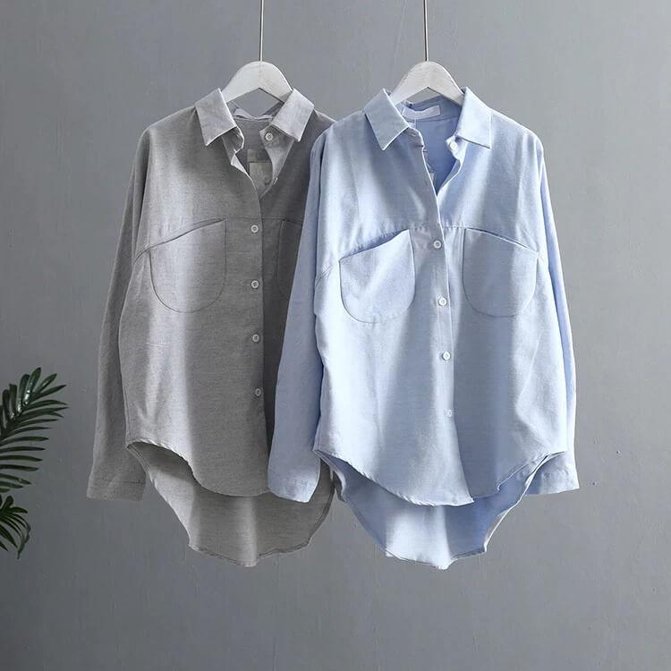 Женская базовая хлопковая рубашка с Алиэкспресс