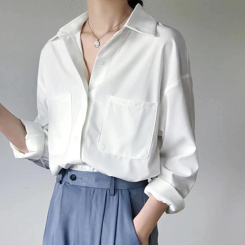 Женская базовая оверсайз рубашка с Алиэкспресс