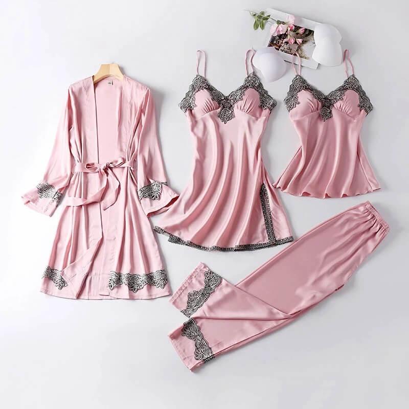 Женский пижамный комплект из 4 предметов с Алиэкспресс