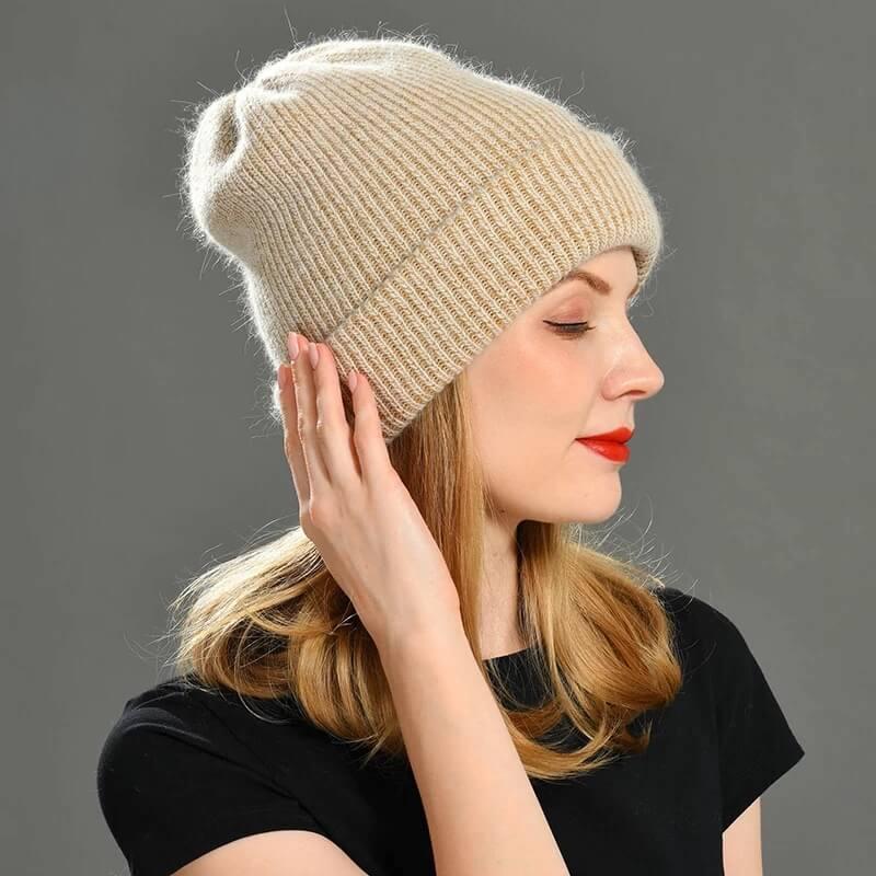 Женская зимняя шапка из кашемира с Алиэкспресс