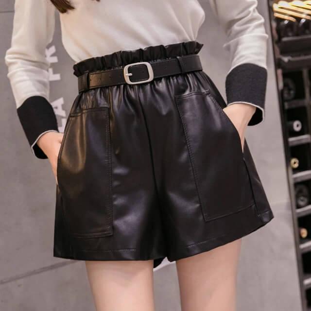 Женские кожаные шорты Surwenyue с Алиэкспресс