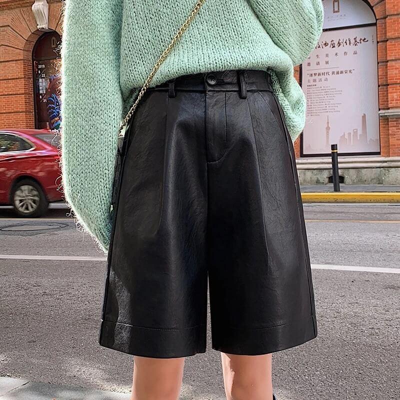 Женские шорты из экокожи QoerliN Q-9901 с Алиэкспрессс