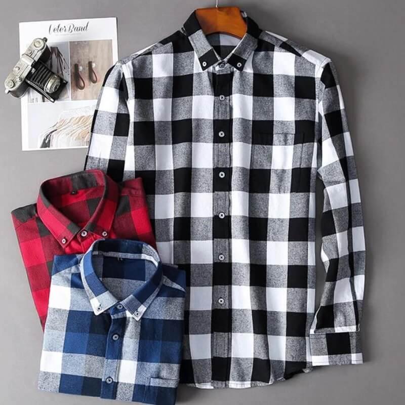 Мужская хлопковая рубашка в клетку Odinokov с Алиэкспресс