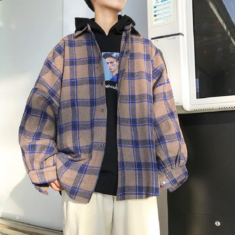 Мужская клетчатая рубашка Lappster с Алиэкспресс