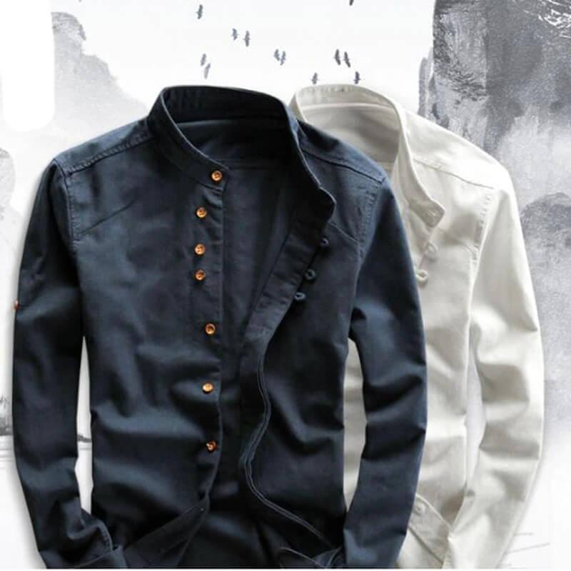 Мужская льняная рубашка Moda Veloce с Алиэкспресс