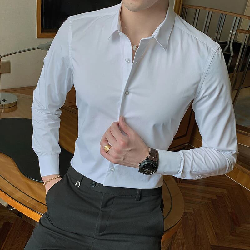 Мужская однотонная рубашка Jwoglt с Алиэкспресс