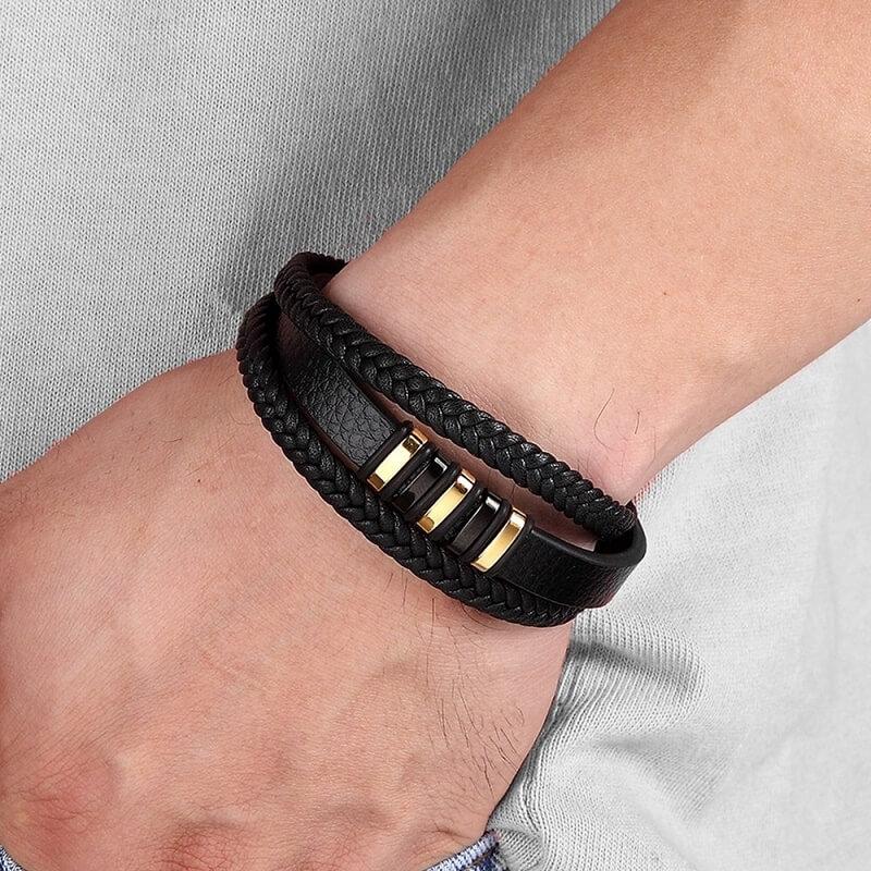 Мужской кожаный браслет на руку TYO с Алиэкспресс