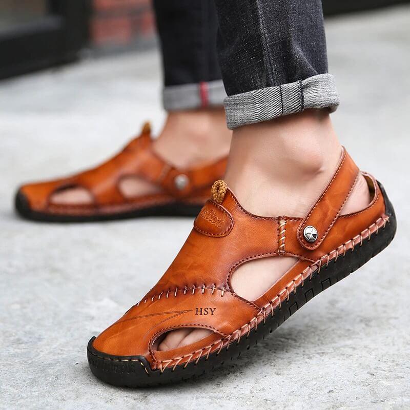 Мужские кожаные сандалии Jingdelong с Алиэкспресс