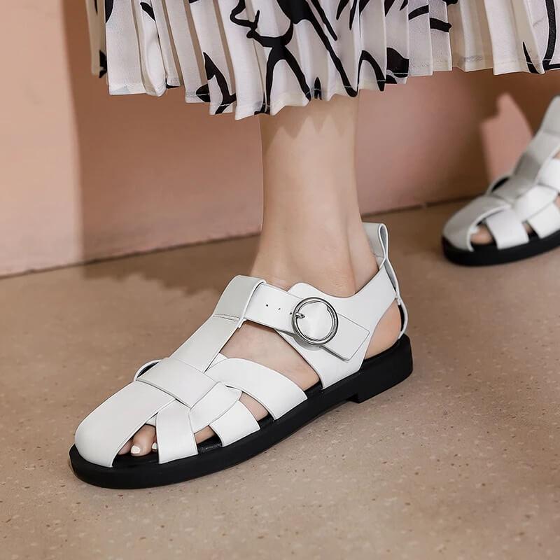 Женские сандалии из натуральной кожи Taoffen с Алиэкспресс