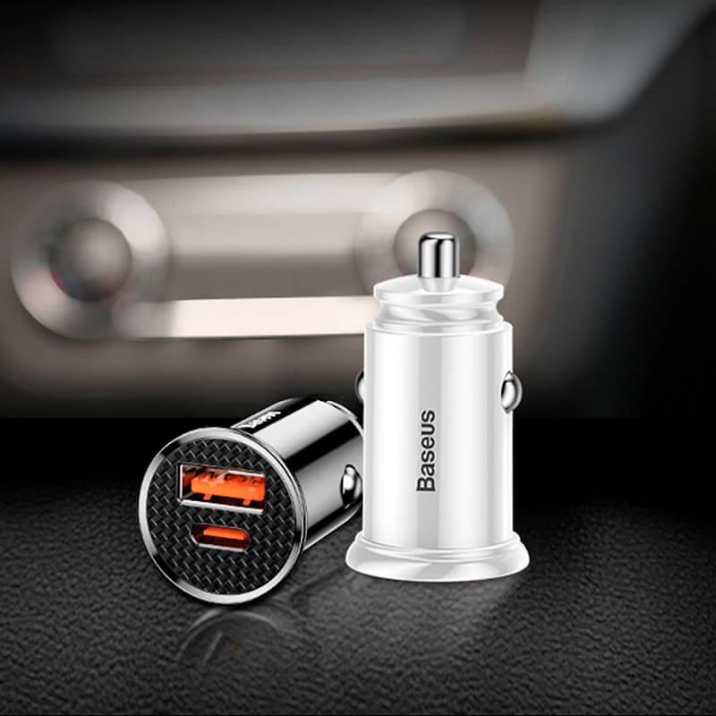 Автомобильная зарядка для телефона Baseus 2 порта с Алиэкспресс