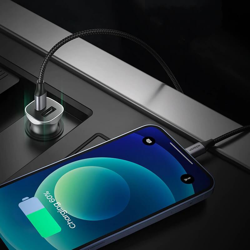 Автомобильная зарядка для телефона Ugreen CD130 2 порта с Алиэкспресс