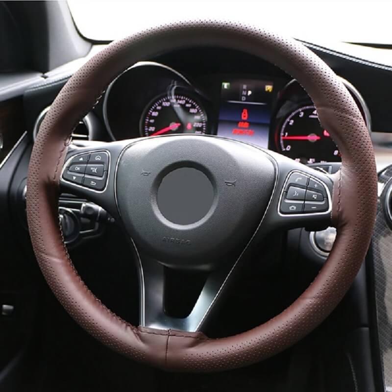 Оплетка на руль из натуральной кожи O Shi Car с Алиэкспресс
